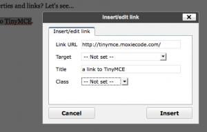 tinymce link edit screenshop